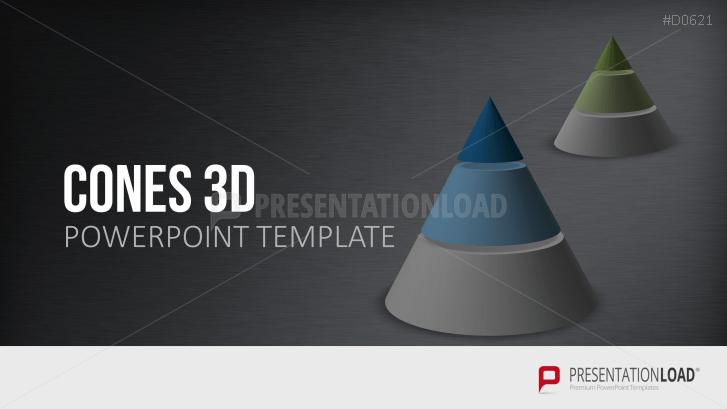 Cones PowerPoint Template In 3D