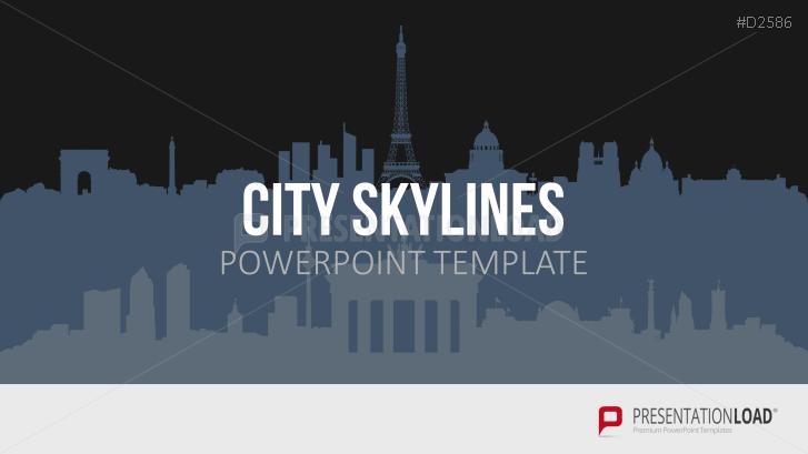 Städte-Skylines für PowerPoint (Vektorgrafik)