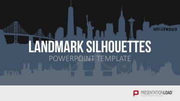 Länder-Wahrzeichen als Silhouetten für PowerPoint _https://www.presentationload.de/laender-wahrzeichen-silhouetten.html