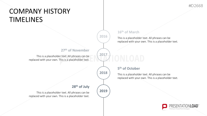 PowerPoint Timeline Template for Company Histories – Business Timeline Template