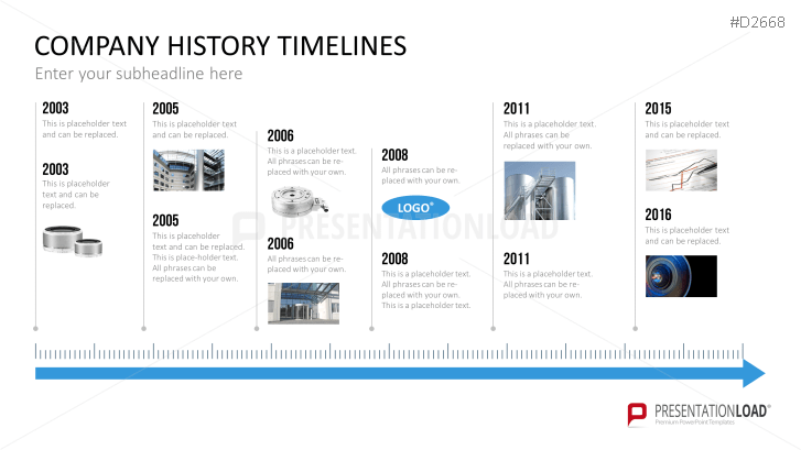 PowerPoint Timeline Template for Company Histories – History Timeline Template