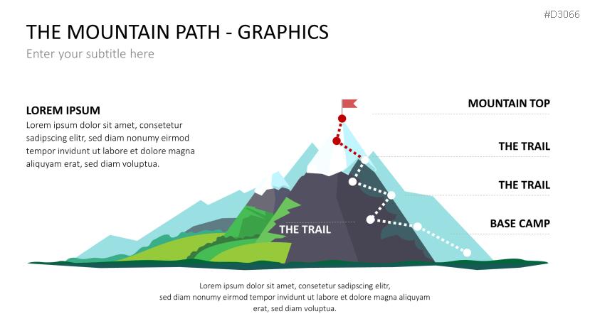 Bergetappen zum Ziel als PowerPoint-Folie