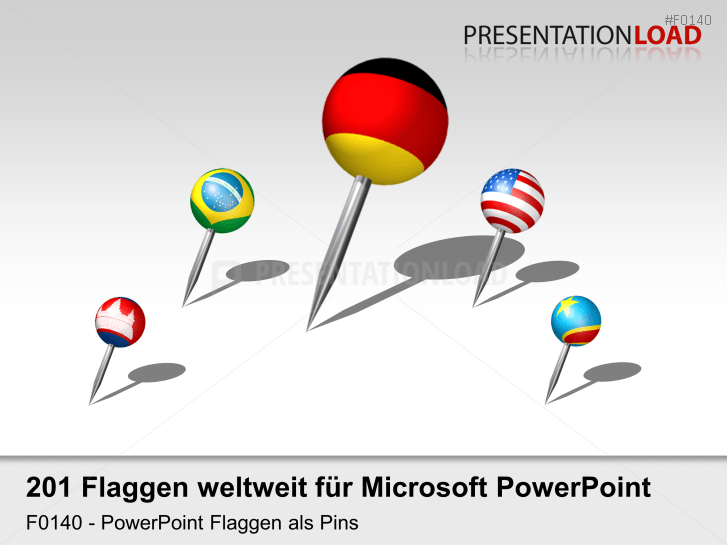 Welt-Set - Pins 3D _https://www.presentationload.de/flaggen-welt-set-pins-3d.html