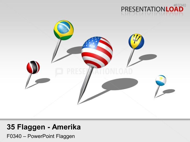 Amerika - Pins 3D _https://www.presentationload.de/flaggen-amerika-pins-3d.html