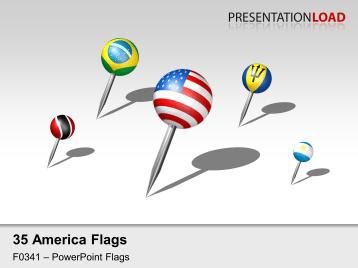 Americas - Pins 3D _https://www.presentationload.com/3d-flag-americas-pins.html