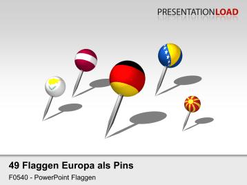 Europa - Pins 3D _https://www.presentationload.de/flaggen-europa-pins-3d.html