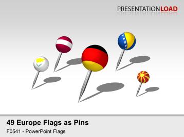 Europe Flags - Pins 3D _https://www.presentationload.com/3d-flag-europe-pins.html
