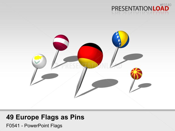 Europe Flags - Pins 3D