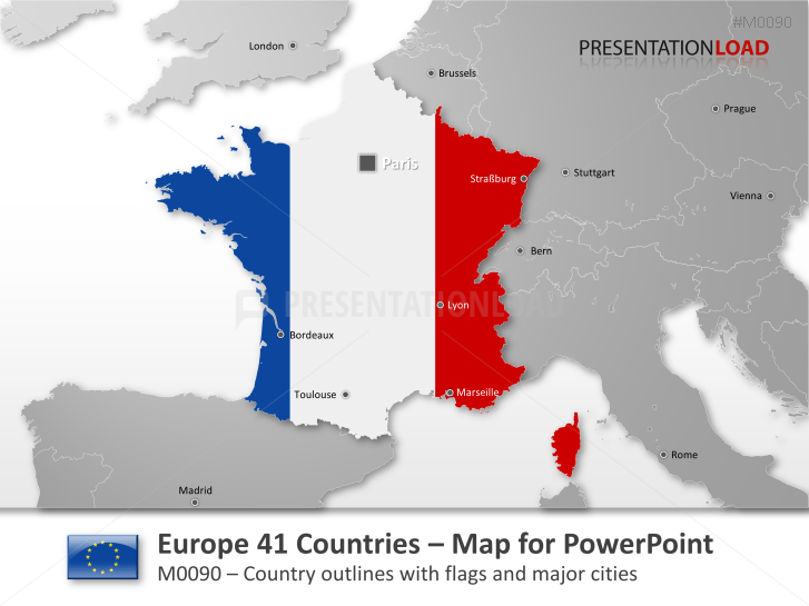 Map Of Europe France.Powerpoint Map Europe 41 Countries With Flags Presentationload