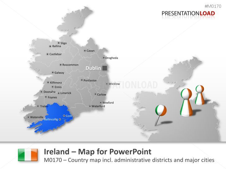 Empty Map Of Ireland.Powerpoint Map Ireland Presentationload