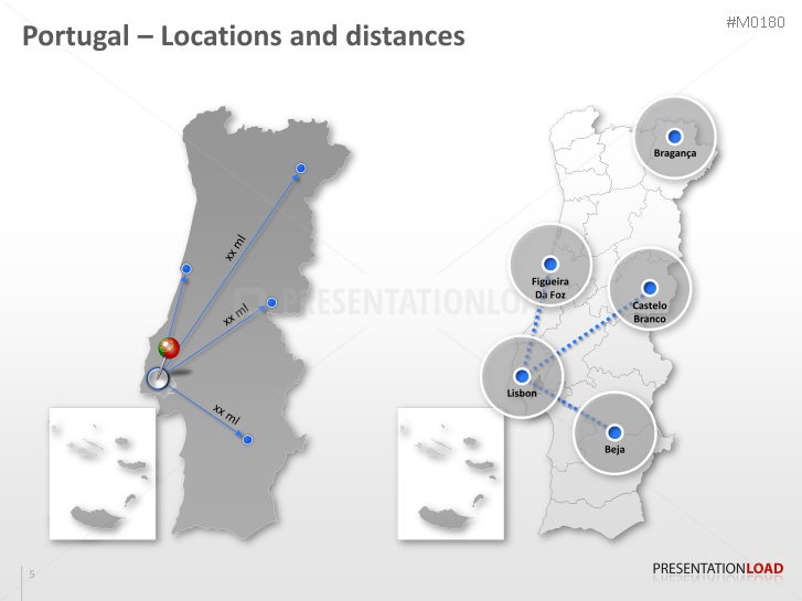 PowerPoint Map Portugal PresentationLoad - Portugal map distances