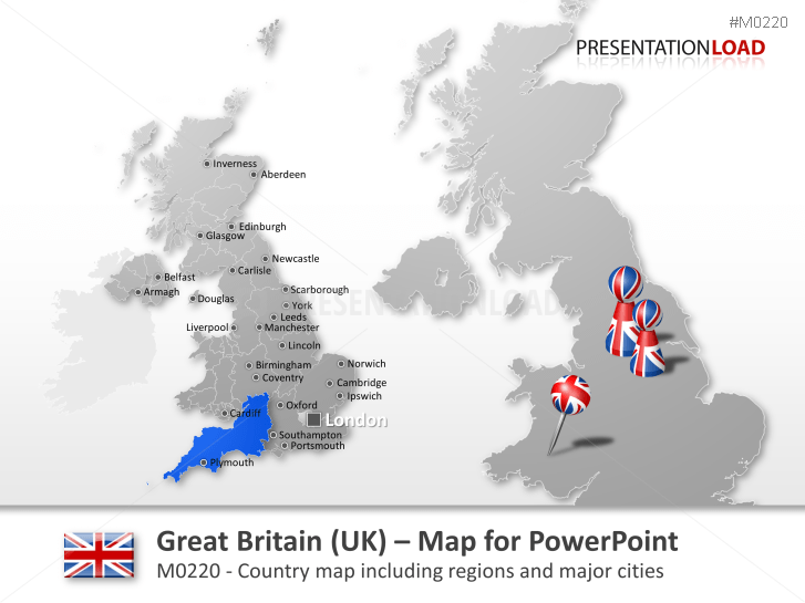 PowerPoint Map Great Britain (UK) | PresentationLoad