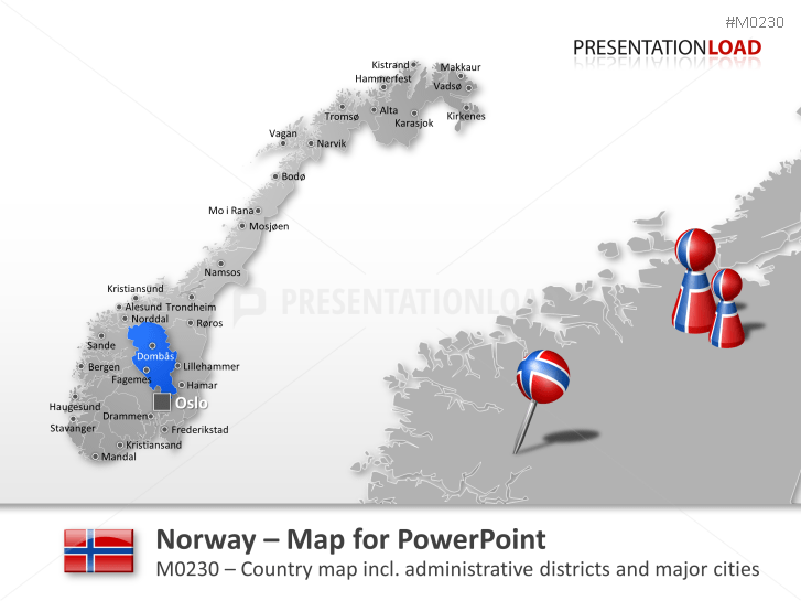 PowerPoint Map Norway PresentationLoad - Map of cities in norway