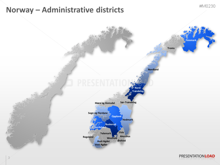 PowerPoint Map Norway PresentationLoad - Norway map districts