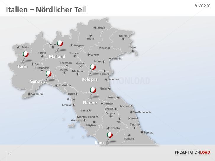 Norditalien Karte.Powerpoint Landkarte Italien Presentationload