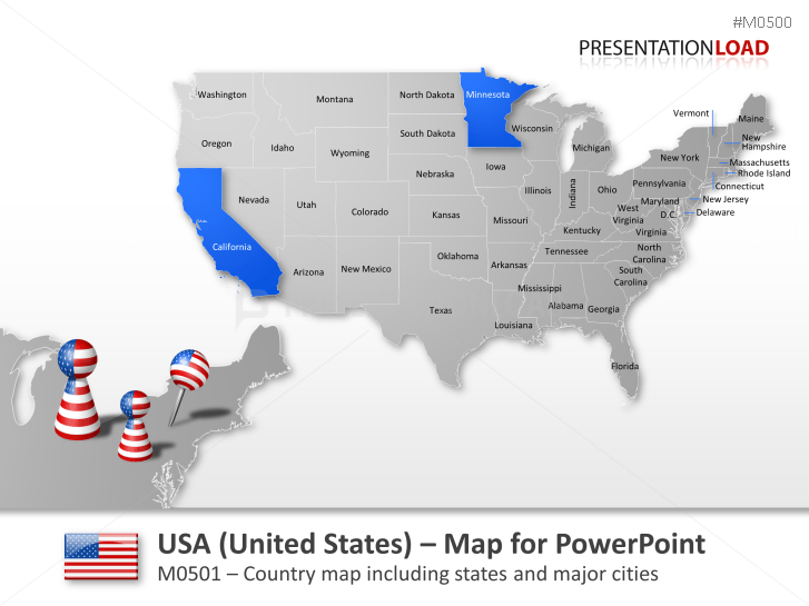 PowerPoint Map United States USA PresentationLoad - Editable us map for powerpoint free