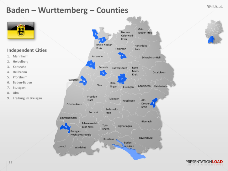 Map Of Germany And Surrounding Counties.Powerpoint Map German Counties Districts Presentationload