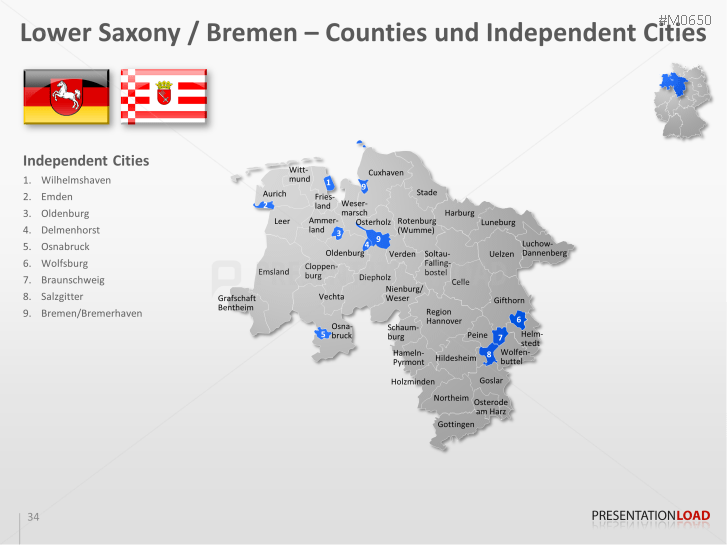 powerpoint map german counties districts presentationload