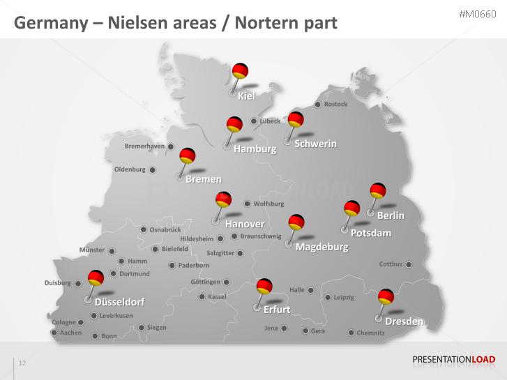PowerPoint Map Germany Nielsen Areas PresentationLoad - Germany map jena