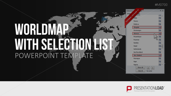 Powerpoint Global Map.Powerpoint World Map With Selection List Presentationload