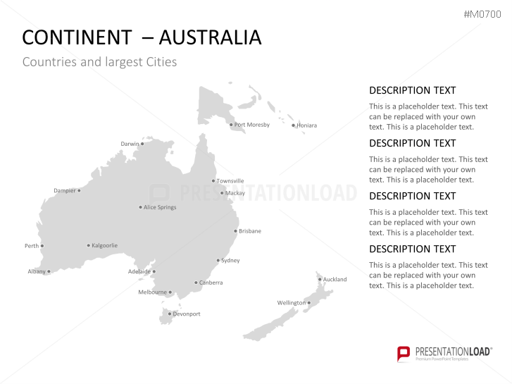 PowerPoint World Map with Selection List – Melbourne Australia World Map
