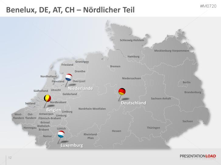 karte benelux deutschland PowerPoint Landkarte Benelux & DACH | PresentationLoad