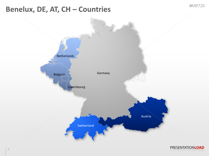 PowerPoint Map Benelux, Germany, Austria, Switzerland