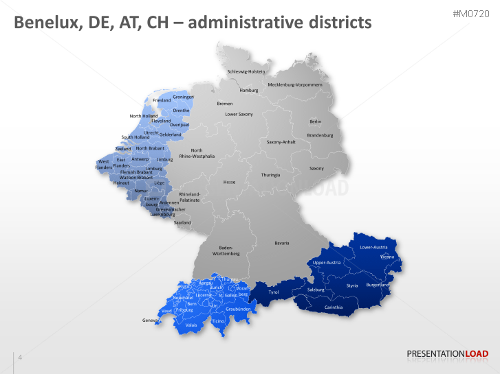 powerpoint map benelux germany austria switzerland