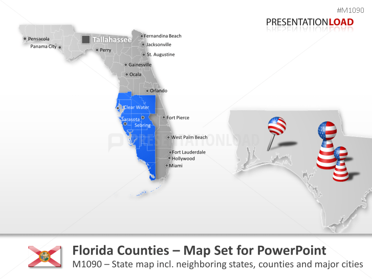 PowerPoint Map Florida Counties USA PresentationLoad - Map of florida counties