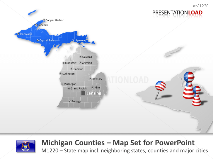 Condados de Michigan _https://www.presentationload.es/michigan-counties.html