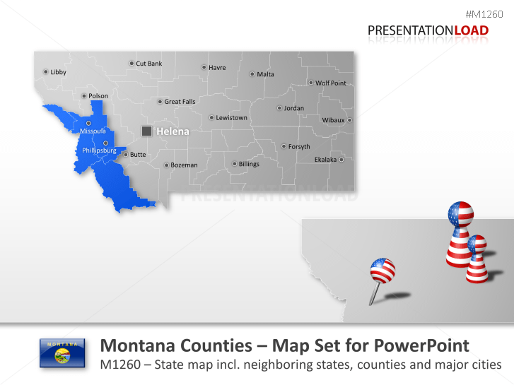 Powerpoint Map Montana Counties Usa Presentationload