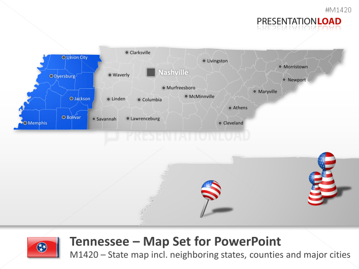 PowerPoint Map Tennessee Counties (USA) | PresentationLoad on