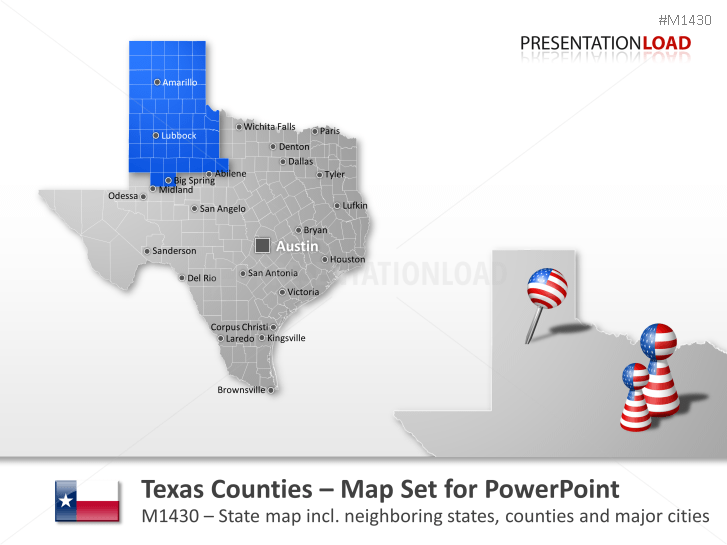 PowerPoint Map Texas Counties USA PresentationLoad