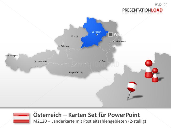 Österreich - PLZ (2-stellig) _http://www.presentationload.de/landkarte-oesterreich-plz-2stellig.html