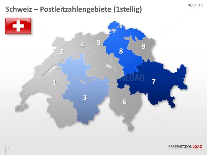 Plz Karte Schweiz.Powerpoint Landkarte Schweiz Inkl Plz Einstellig Presentationload