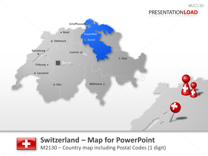 PowerPoint Map Switzerland with ZIP 1 Digit PresentationLoad