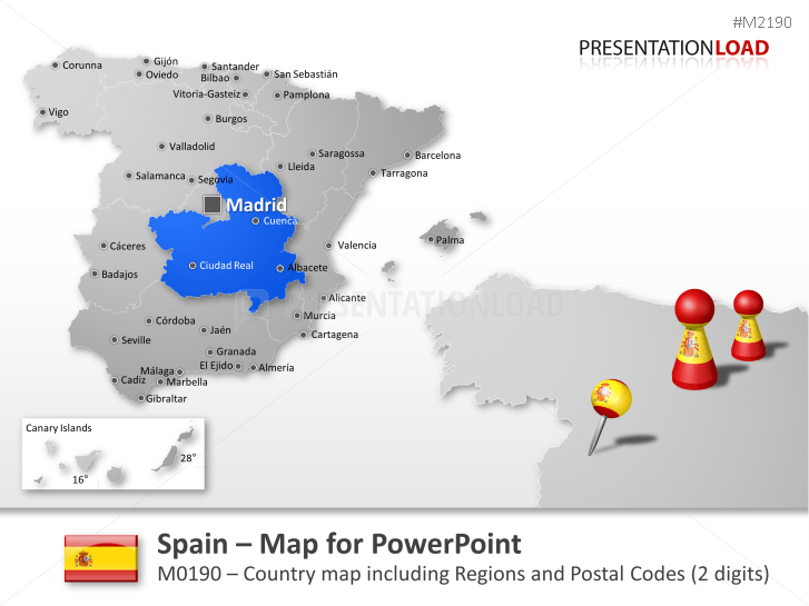 Spain - Post Codes 2-digit _https://www.presentationload.com/map-spain-zip-2digit.html