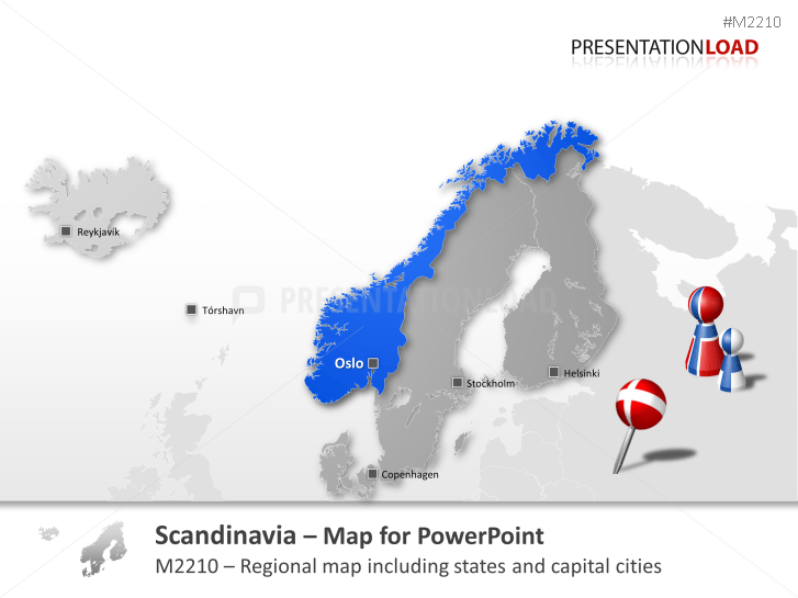 PowerPoint Map Scandinavia PresentationLoad - Map of scandinavia