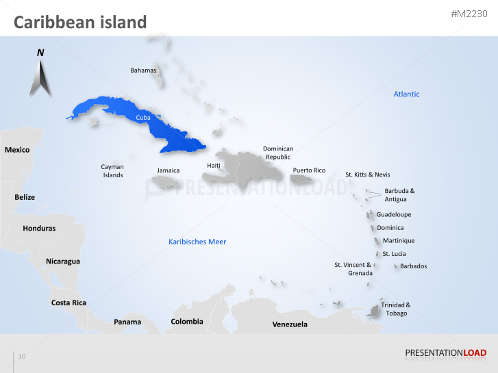 PowerPoint Map Caribbean Islands PresentationLoad - Caribbean island map