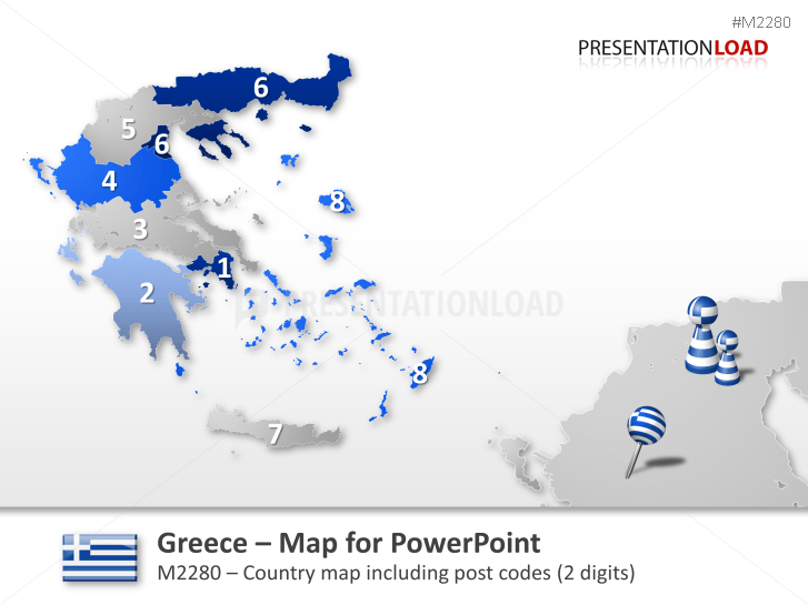 Greece - Post Codes 2-digit _https://www.presentationload.com/map-greece-zip-2digit.html
