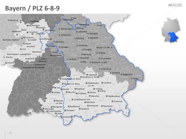 Plz Karte Bayern.Presentationload Deutschland Plz 3 Stellig