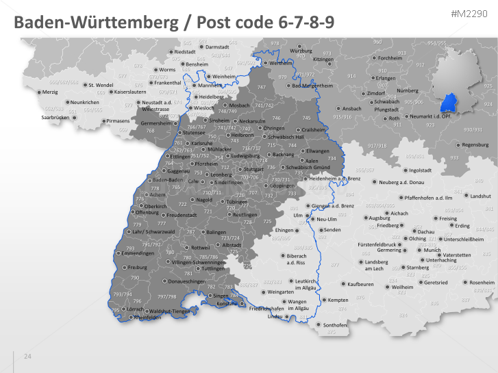 PowerPoint Map Germany with ZIP 3 Digits  PresentationLoad
