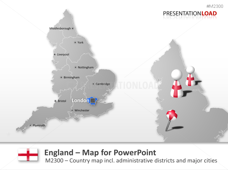 Map Of England Showing Major Cities.Powerpoint Map England Presentationload