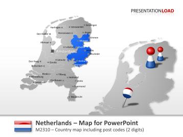 Netherlands - Post Code (2Digits) _https://www.presentationload.com/map-netherlands-zip-2digits.html