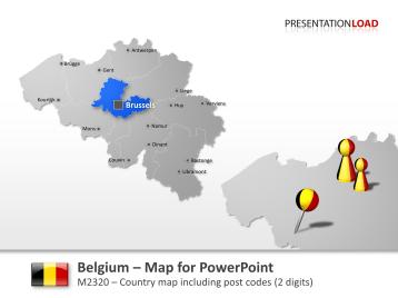 Belgium - Post Code (2Digits) _https://www.presentationload.com/map-belgium-zip-2digits.html