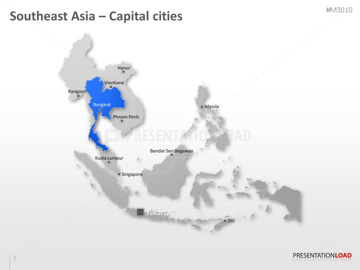 Map Of Asia Template.Powerpoint Map Southeast Asia Presentationload