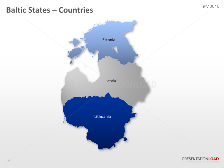 PowerPoint Map of the Baltic States | PresentationLoad