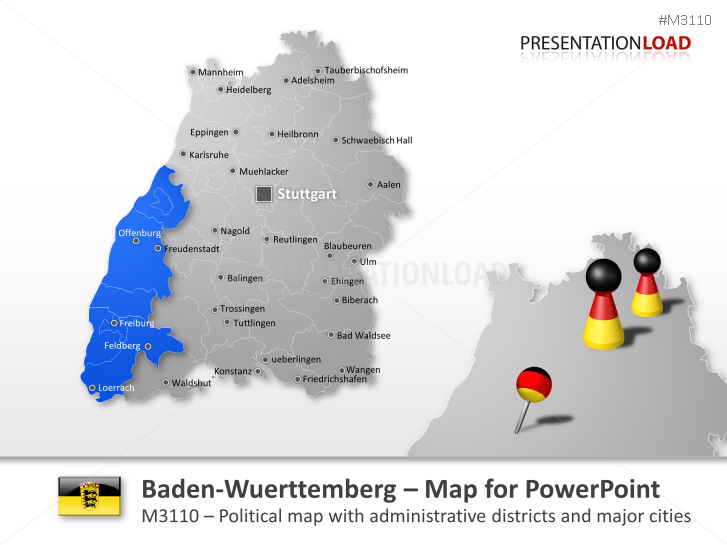 Powerpoint Map Baden Wurttemberg Germany Presentationload