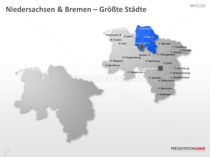 Niedersachsen Karte Mit Städten.Powerpoint Landkarte Niedersachsen Bremen Presentationload