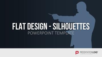 Siluetas de personas en diseño plano _https://www.presentationload.es/siluetas-flat-design-plantillas-de-powerpoint.html